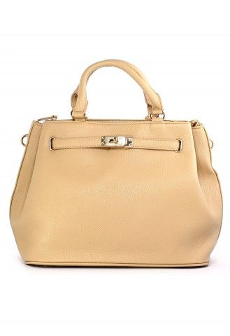 Nude Front Lock Shoulder Bag by Chic+