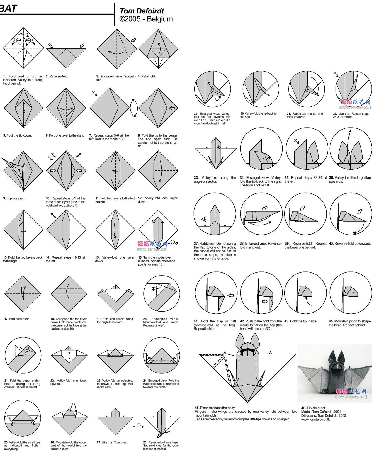 Origami Instructions Bat