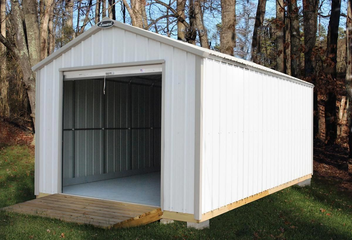 Leonard 12 X20 Pilot Steel Frame Metal Sided Storage Shed Fully Constructed Delivered To Backyard Shed Shed Storage Building A Shed
