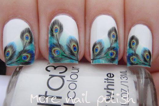 More Nail Polish Peacock Water Decal Nail Art Stunning Wow 333