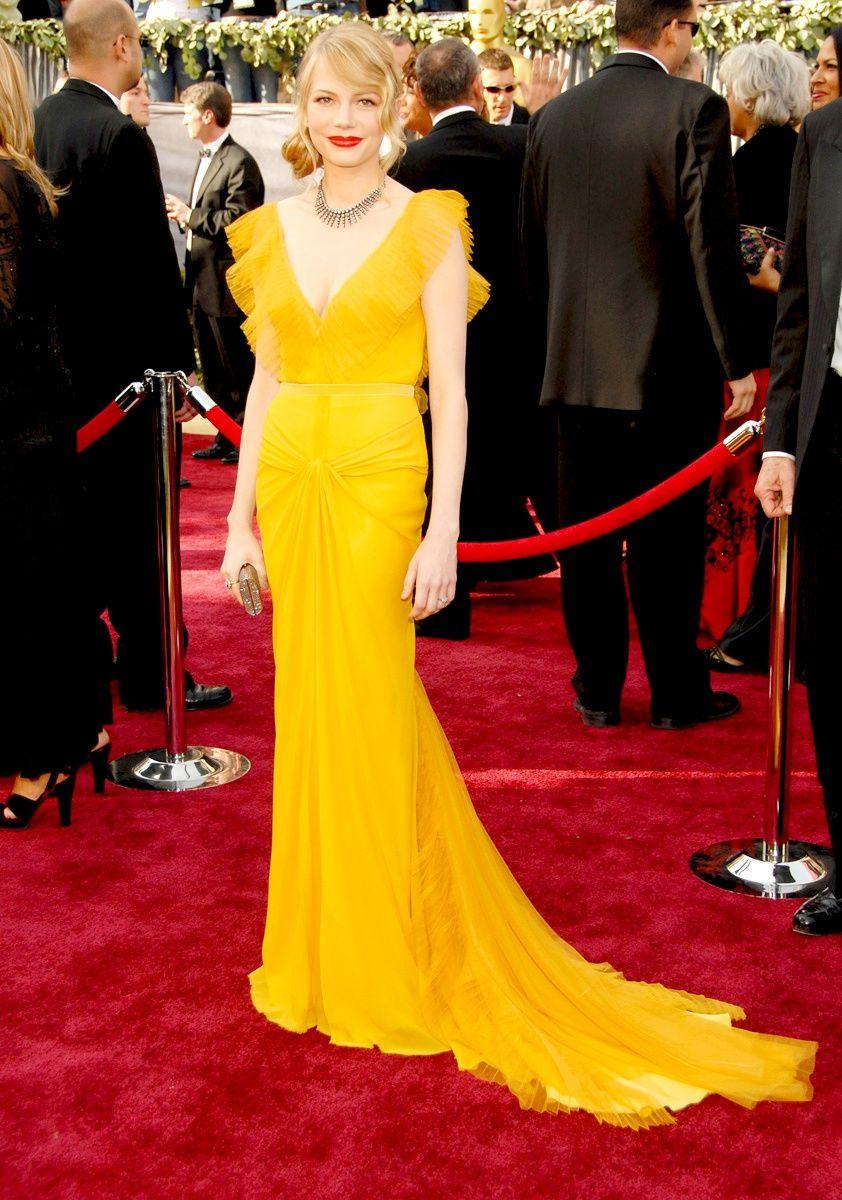 Michelle Williams Oscar Fashion Designer Yellow