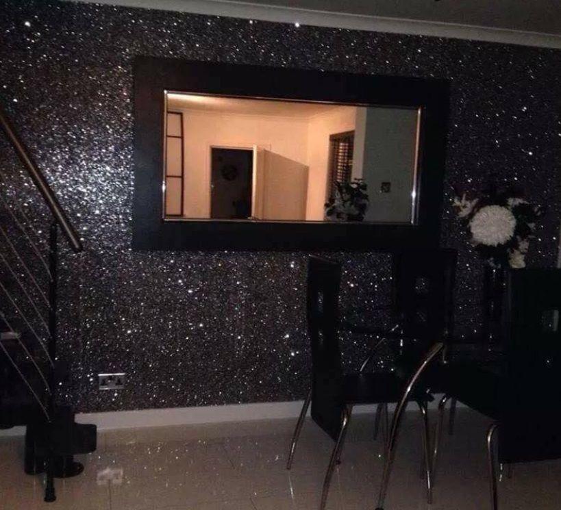 Best Black Chunky Glitter Wallpaper Covering Bling Grade 3 Sold 640 x 480