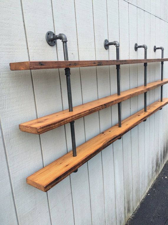 Triple Bookshelf Vintage Three Shelf Bookcase With Reclaimed Wood Pipe Wall Mounted Black Iron Gas
