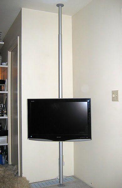 Hang your TV on a pole | Fernseher, Schlafzimmer und Deckchen