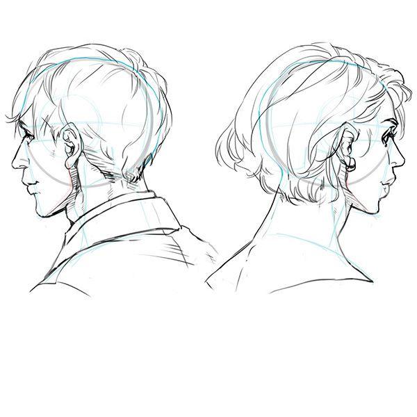 比率のバランスから学ぼう 斜め顔と斜め後ろから見た顔の描き方 いちあっぷ 顔 描き方 顔 顔のスケッチ