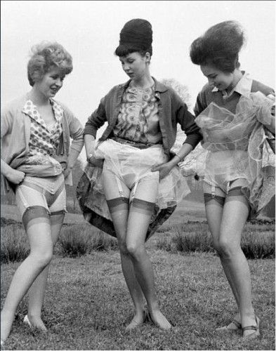 c60f10f1ca6 1950s garter belts - Gasp! These ladies are showing off their garters and  panties #1950s #lingerie