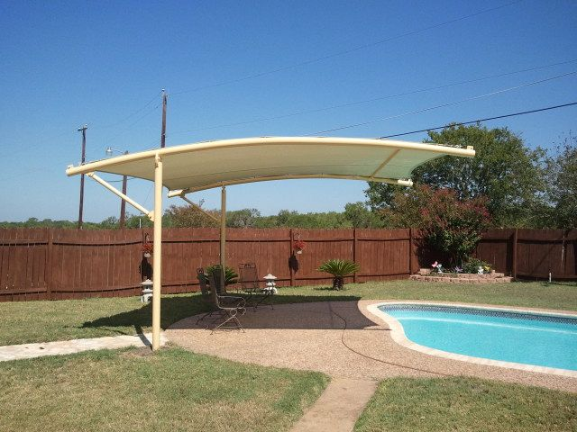 Modern cantilever steel shade structure outdoor for Metal sun shade structures