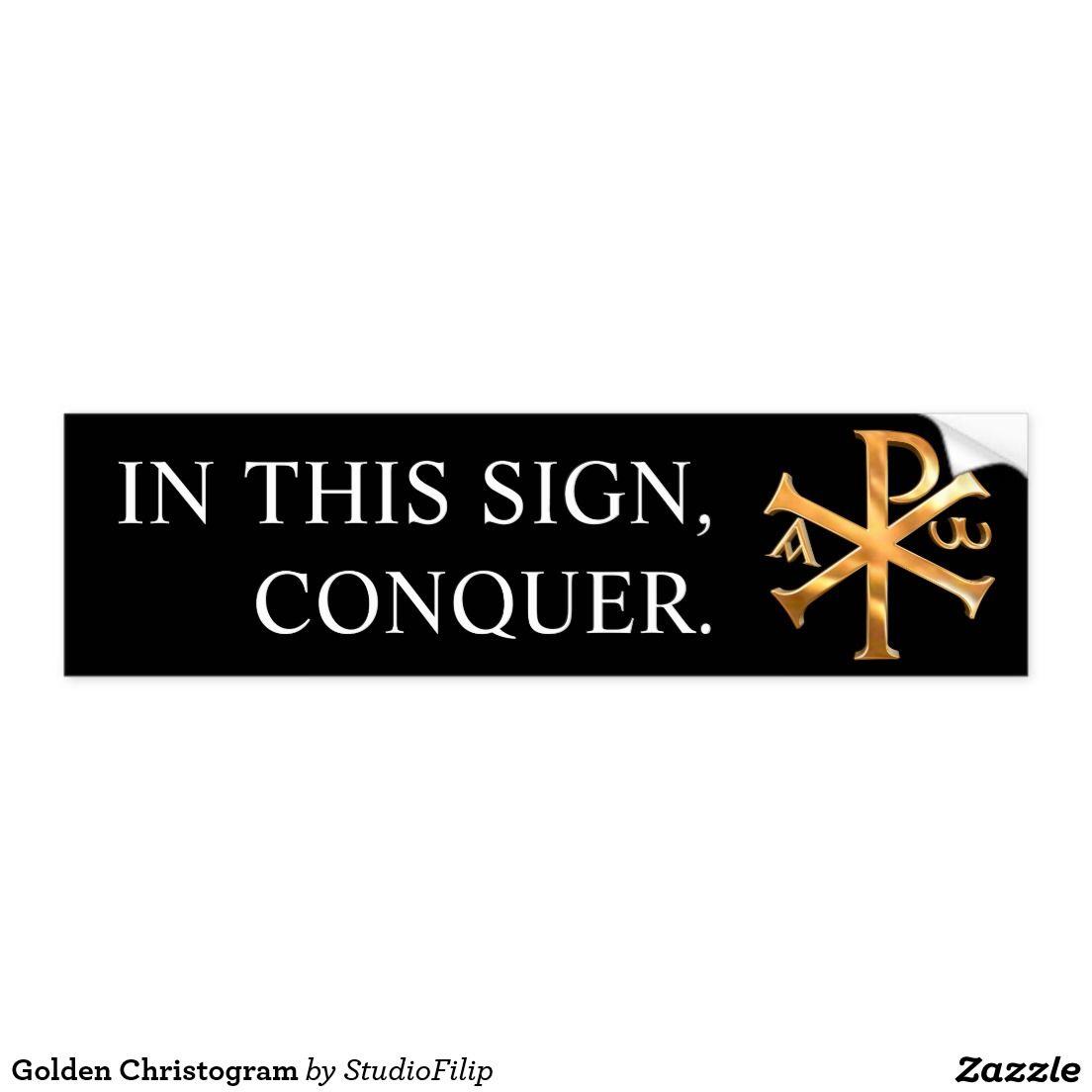 Golden Christogram Bumper Sticker Christianity Religious Symbols