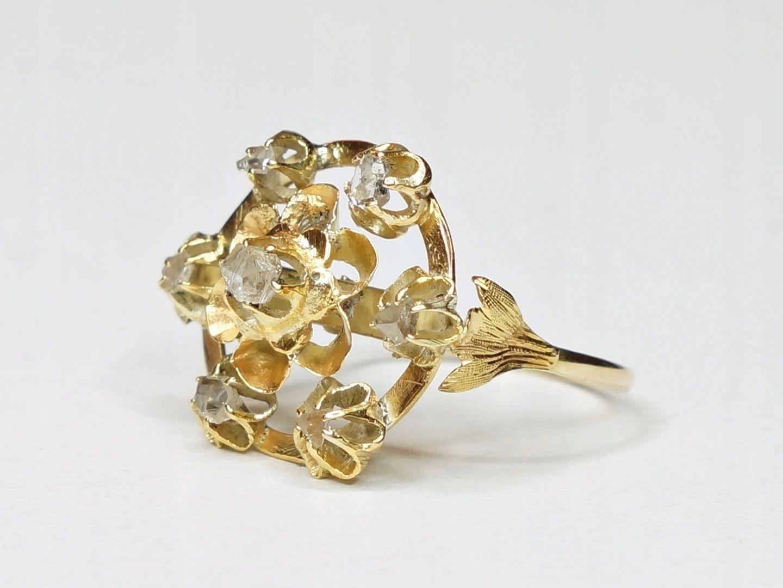 Pierscionek Zloto 18 K Diament Rozeta Xix Wiek 7496529190 Oficjalne Archiwum Allegro Engagement Rings Jewelry Rings