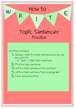 How can i make my topic sentence sound better?