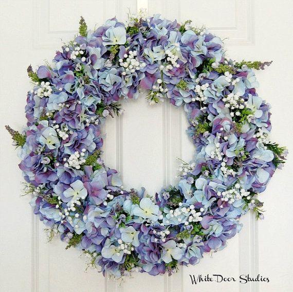 Blue Hydrangea Wreath Spring Wreath Front Door Wreath Summer
