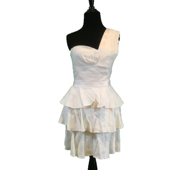 Vintage Inspired One Shoulder Dress Size 4  Bust34-36 Waist 26-28 Length 32  NWOT white linen one shoulder 3 tiered dress. Unfortunately my steamer died so I couldn't get out every wrinkle, but there are no flaws. Fabric  is crisp and new. bebe Dresses One Shoulder