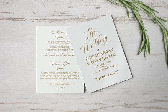Gold Wedding Programs Wedding Program Template Wedding Program