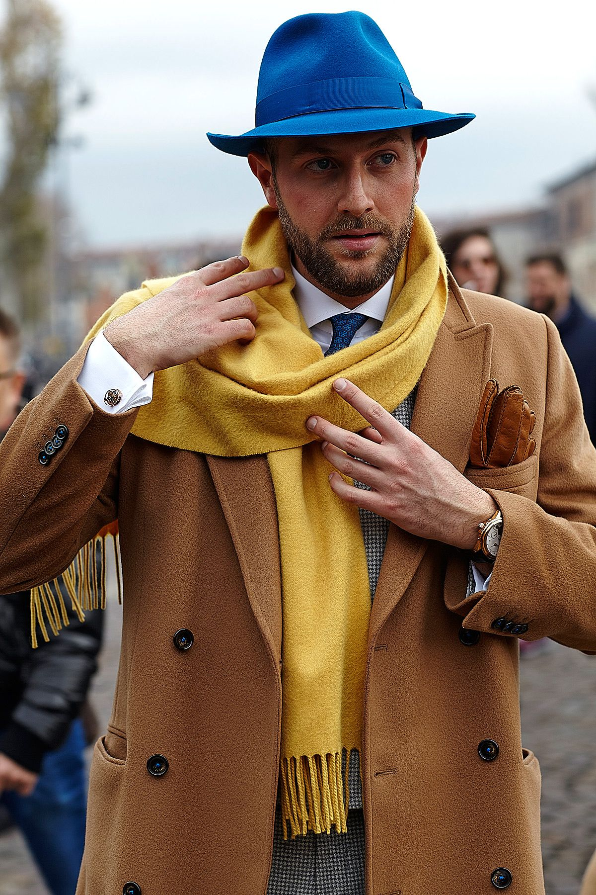 Mens leather gloves gq - Shop This Look On Lookastic Blue Wool Hat White Dress Shirt Navy Print Tie Mustard Scarf Brown Leather Gloves Camel Overcoat Black And White