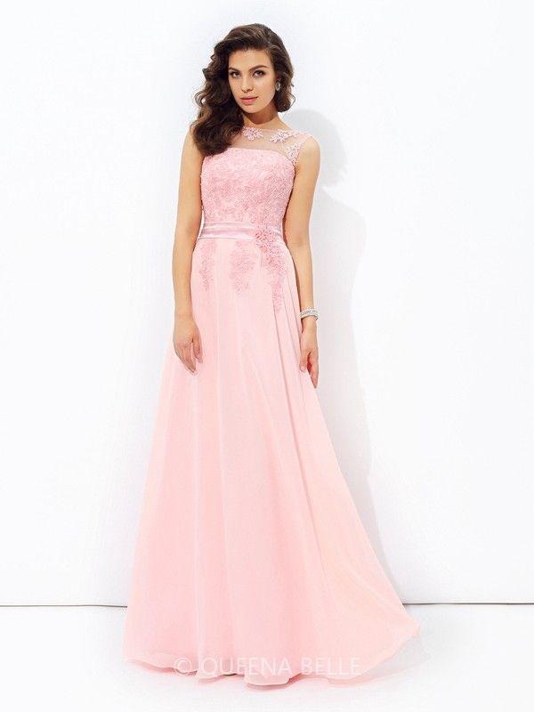 A-Line/Princess Sleeveless Applique Scoop Floor-length Chiffon Dresses