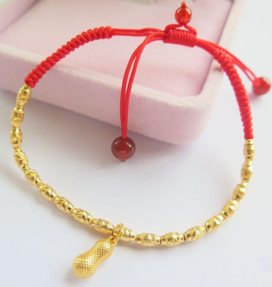 Hot sale pure k yellow gold bracelet womanus fine bead link lucky