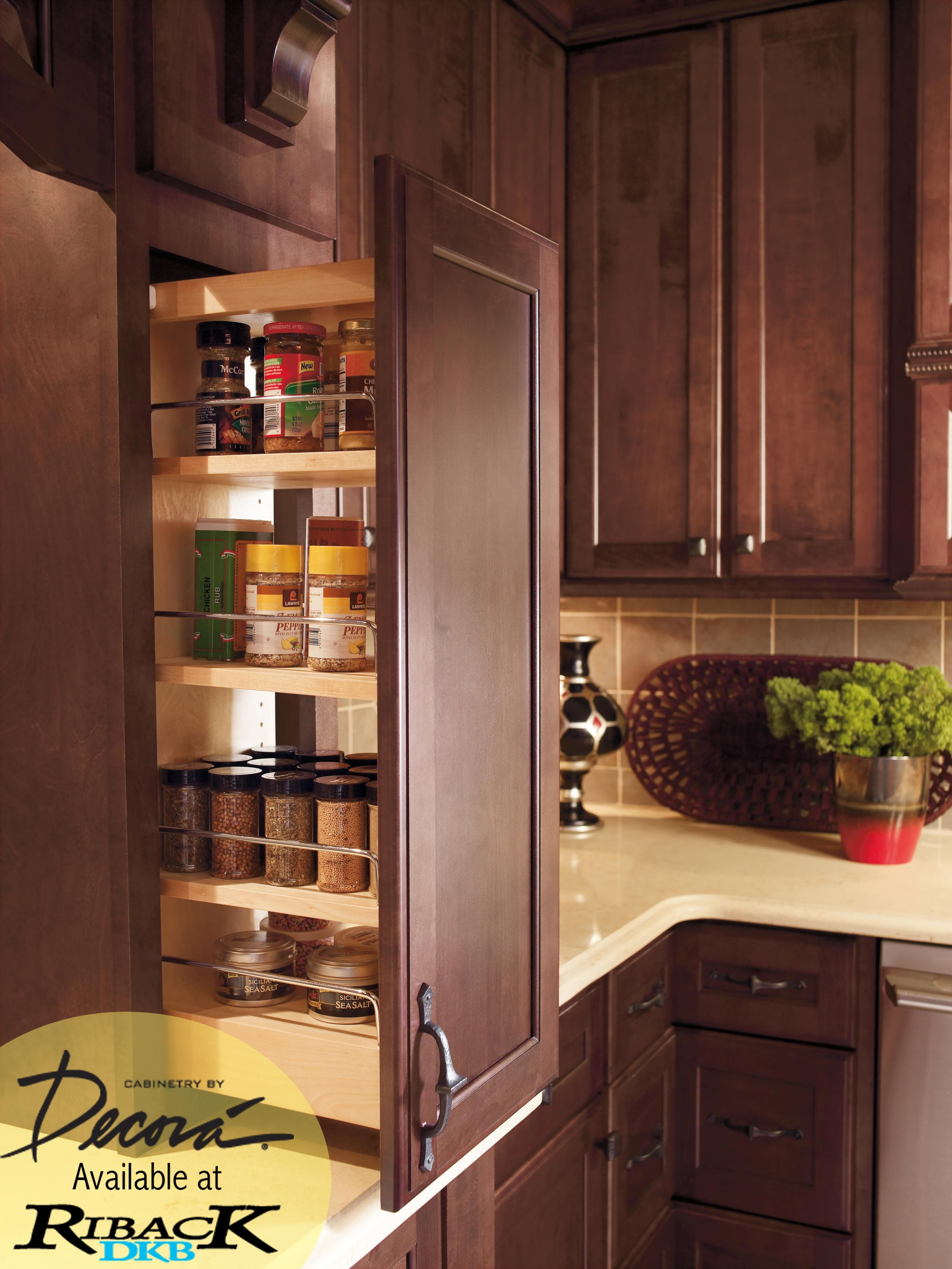 We love the idea of a pull out spice rack cabinet. Great ...
