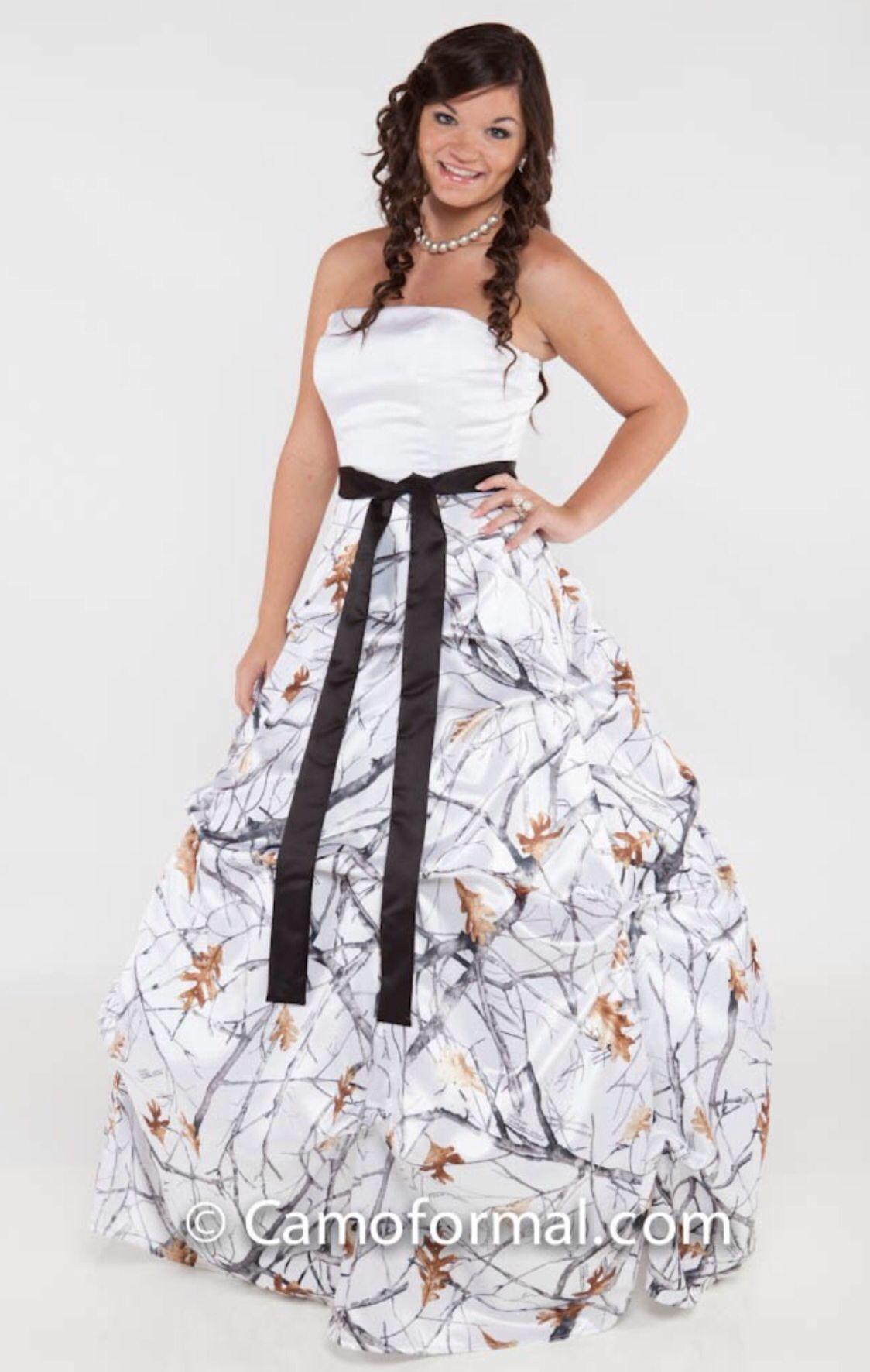 White camo prom dress ) Camo wedding dresses, Camo prom