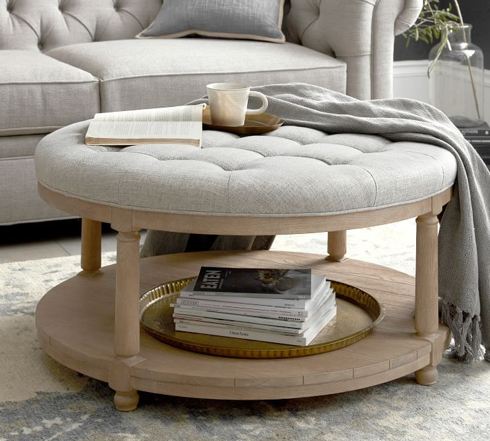 Berlin Upholstered Round Ottoman Performance Chateau Basketweave Oatmeal Seadrift Finish Furniture Ottomans Benches Pottery Barn In 2020 Round Ottoman Upholstered Ottoman Ottoman