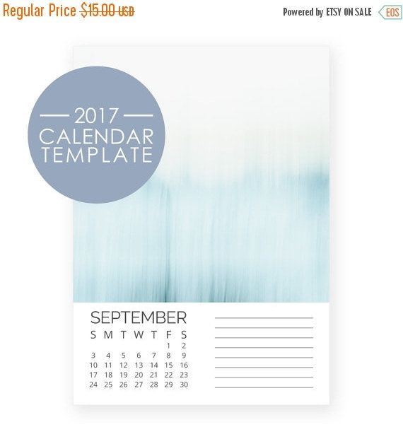 SALE - 2017 Calendar Template 5x7 - Photo Template - DIY Desk