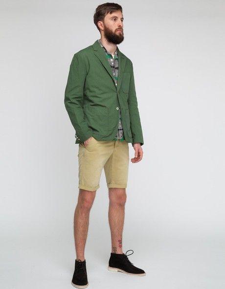 Men's Dark Green Blazer, Grey Short Sleeve Shirt, Beige Shorts ...