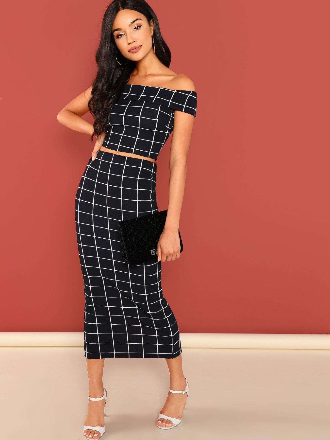 fbf638857a9d8 Grid Crop Bardot Top & Skirt Co-Ord Bardot#Crop#Grid | Fashions ...