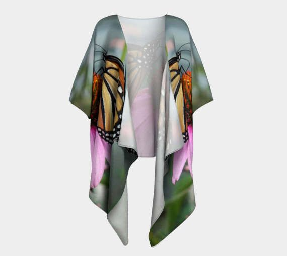 Pink Spiraea, Draped Kimono, Bride Robe, Bridesmaid Robe, Coverup, Spa Robe, Swimsuit Coverup, Robe, Pink Flower, Spiraea, Flower Robe