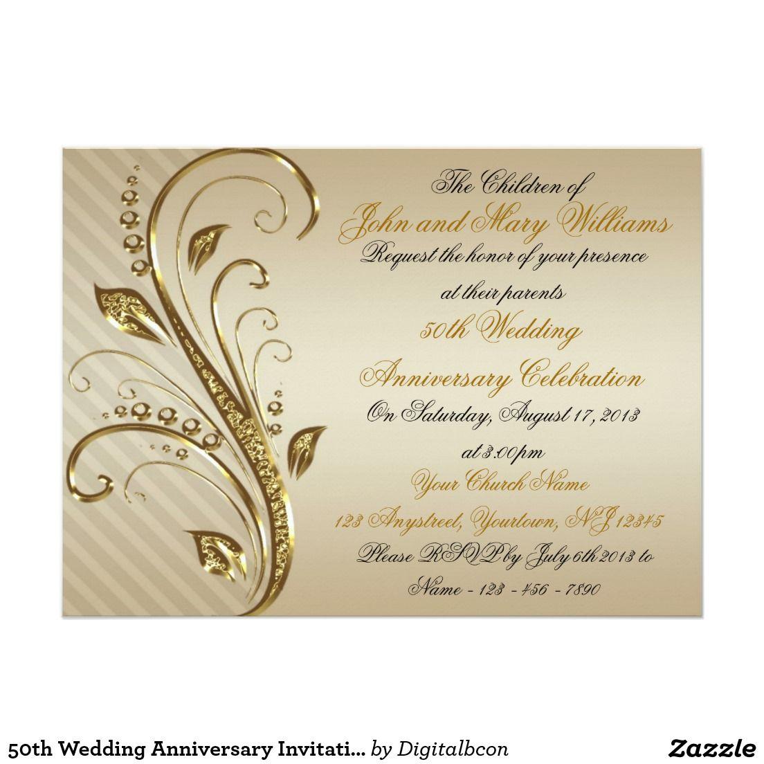 50th Wedding Anniversary Invitation Card Zazzle Com Golden Wedding Anniversary Invitations 50th Wedding Anniversary Anniversary Invitations
