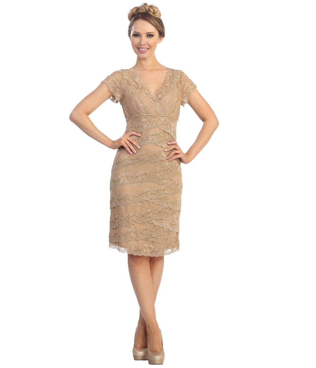 2014 Taupe Lace Cap Sleeve Dress