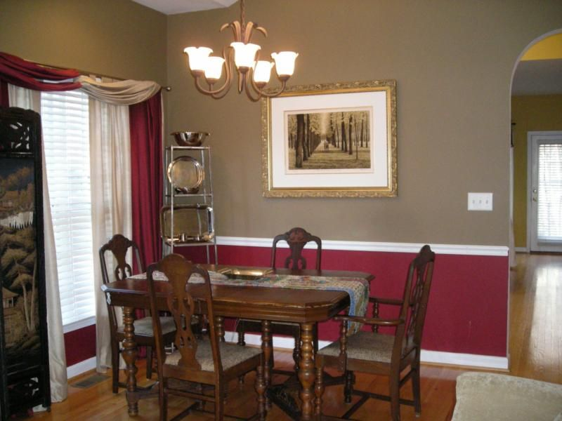 Dining Room Color Schemes Chair Rail chocolate and red walls with chair rail | chat noir dining room