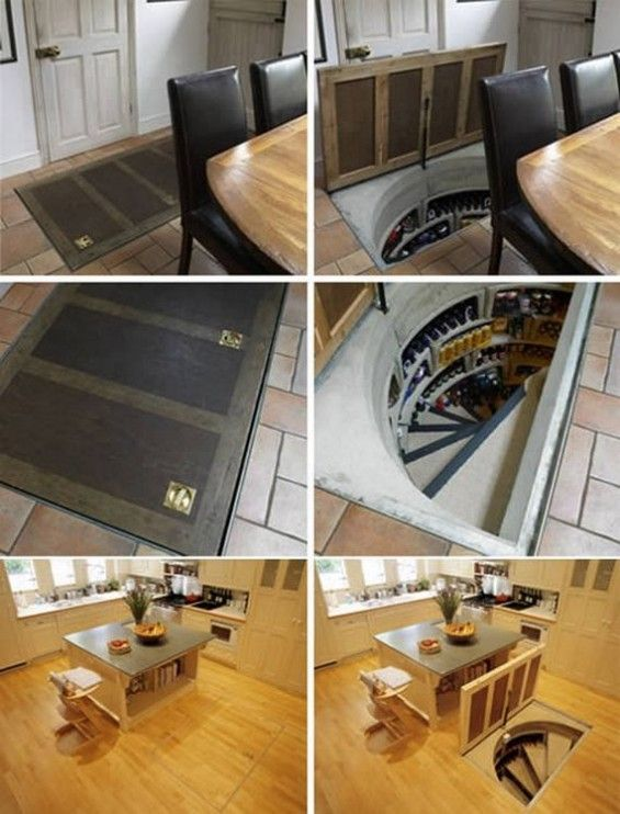 Hidden Wine Cellar In The Floor This Would Be A Rather Interesting Way To Get Access