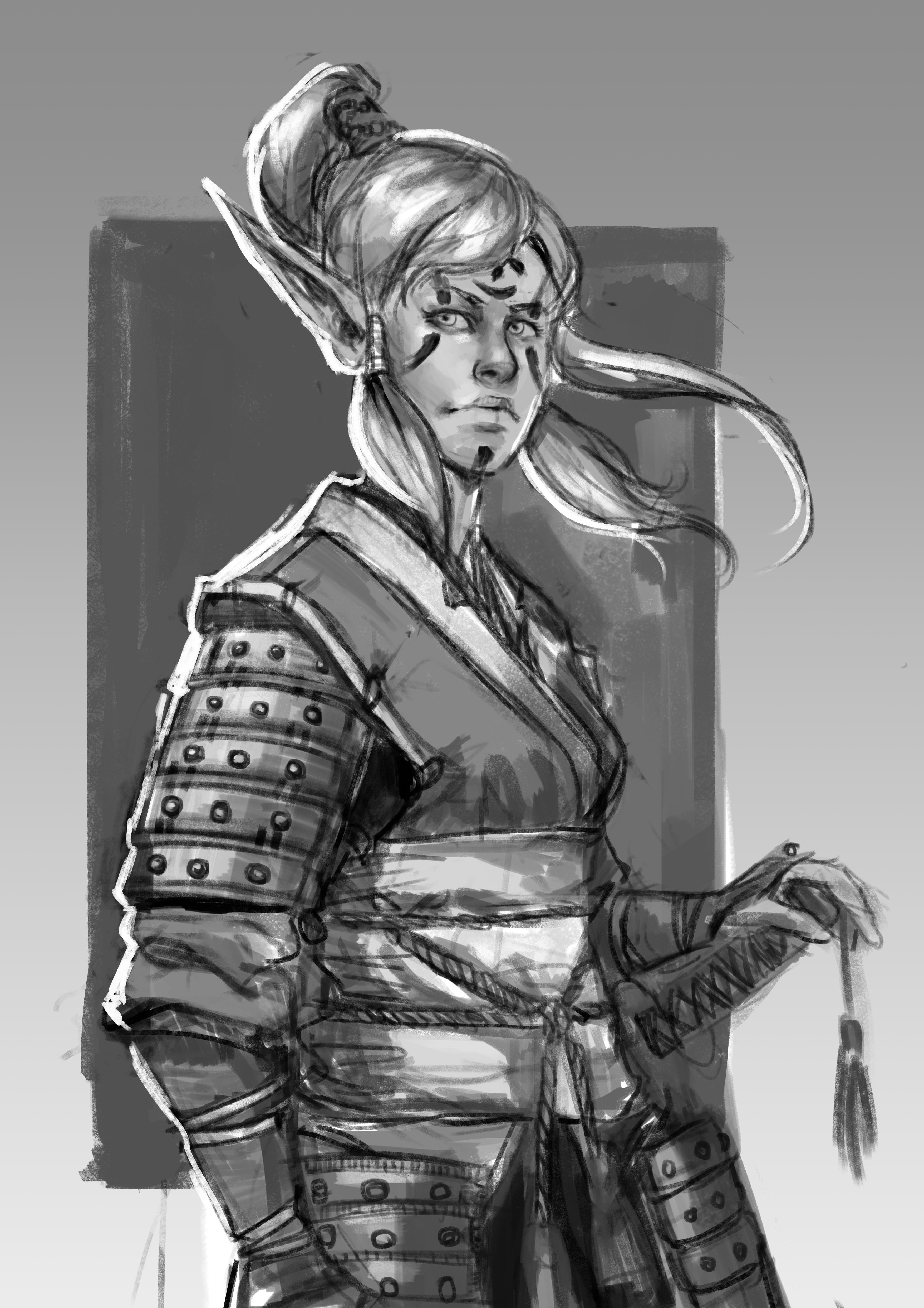 Female Elf Samurai by reddit user /u/rboldador | Campaign