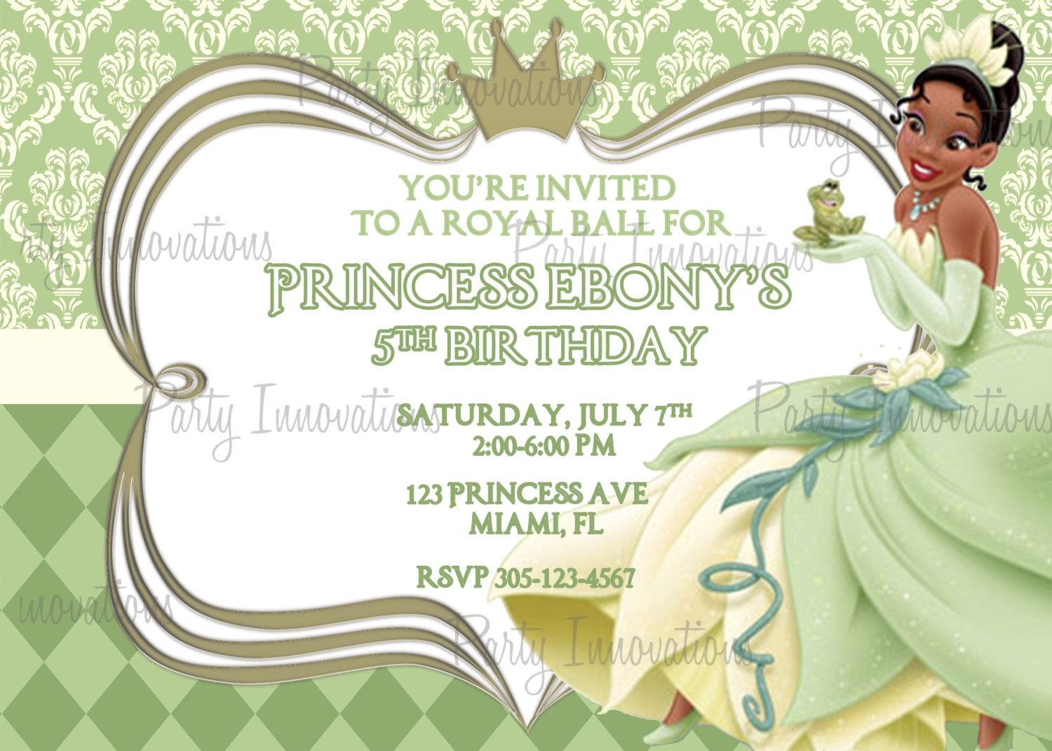 princess tiana invitations princess tiana party princess tiana invitations