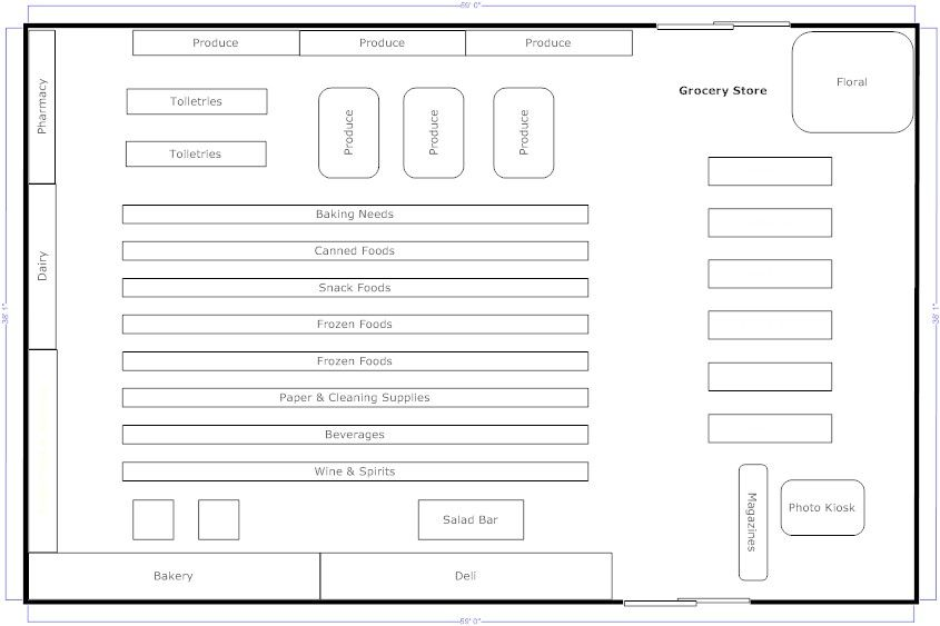 Small grocery store floor plan google search for Floor plan furniture store