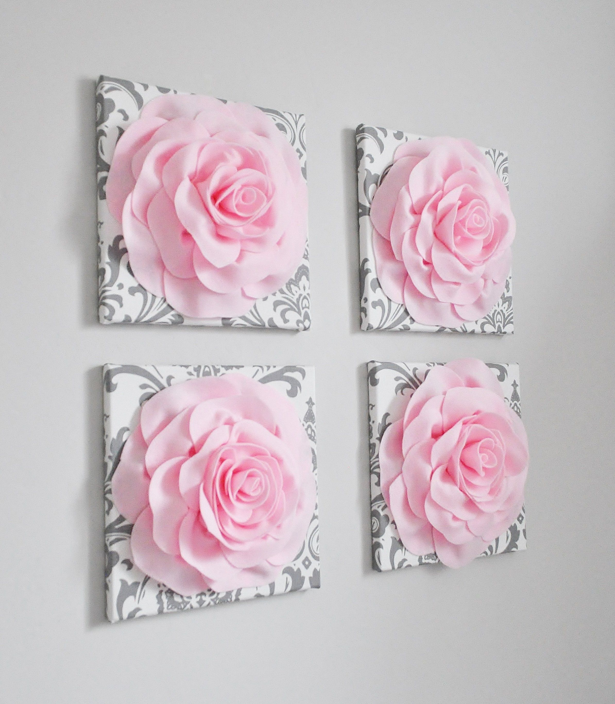 Floral Wall Decor Pink And White And Gray Damask Flower Wall Hangings 12 X12 Canvases Flower Wall Art White Paper Flowers Flower Wall Decor Pink Wall Decor