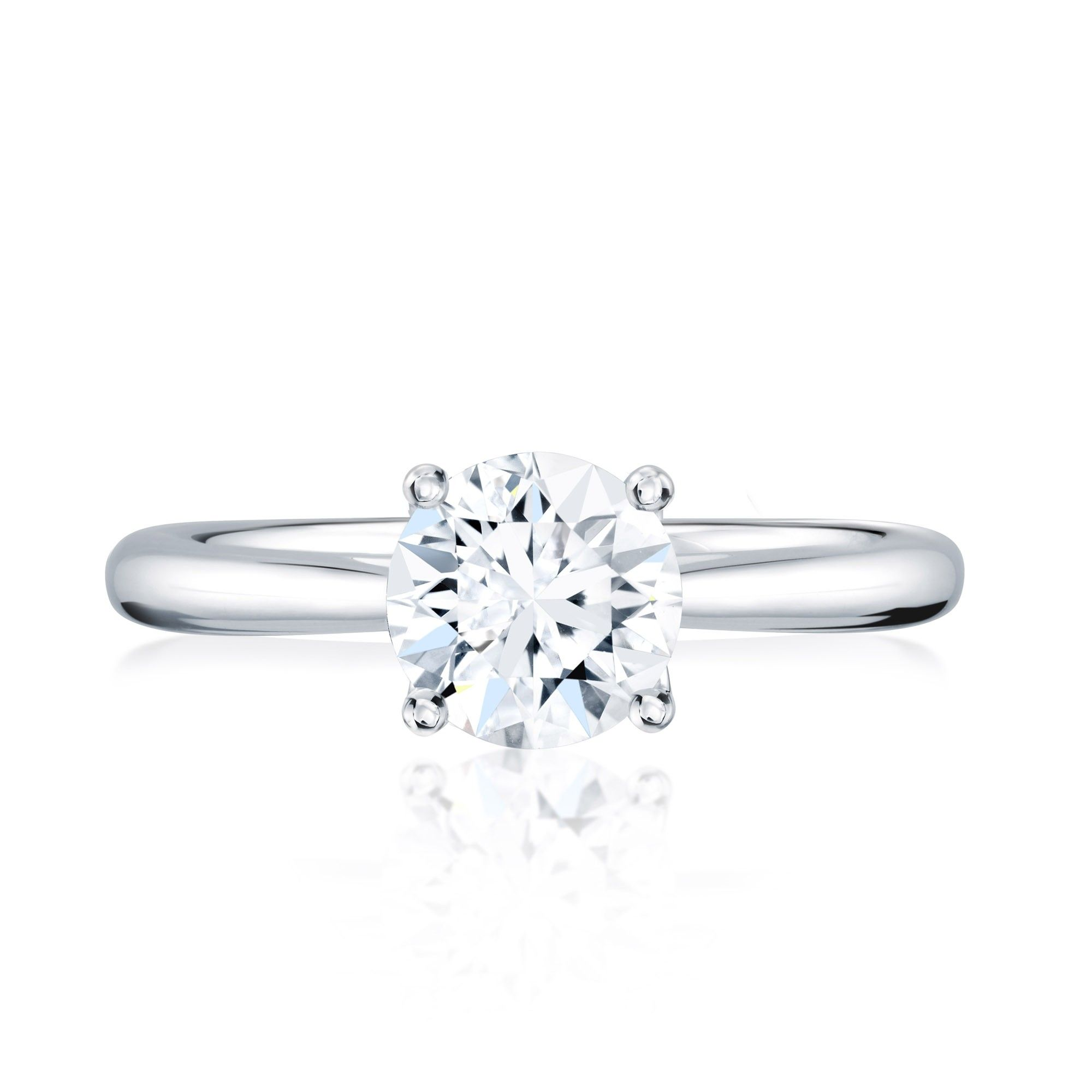From The BIRKS 1879 Collection This 18kt White Gold And Platinum Solitaire Diamond Engagement Ring