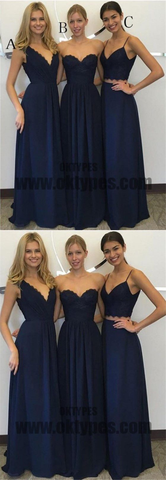 A line bridesmaid dresses navy blue bridesmaid dresses long