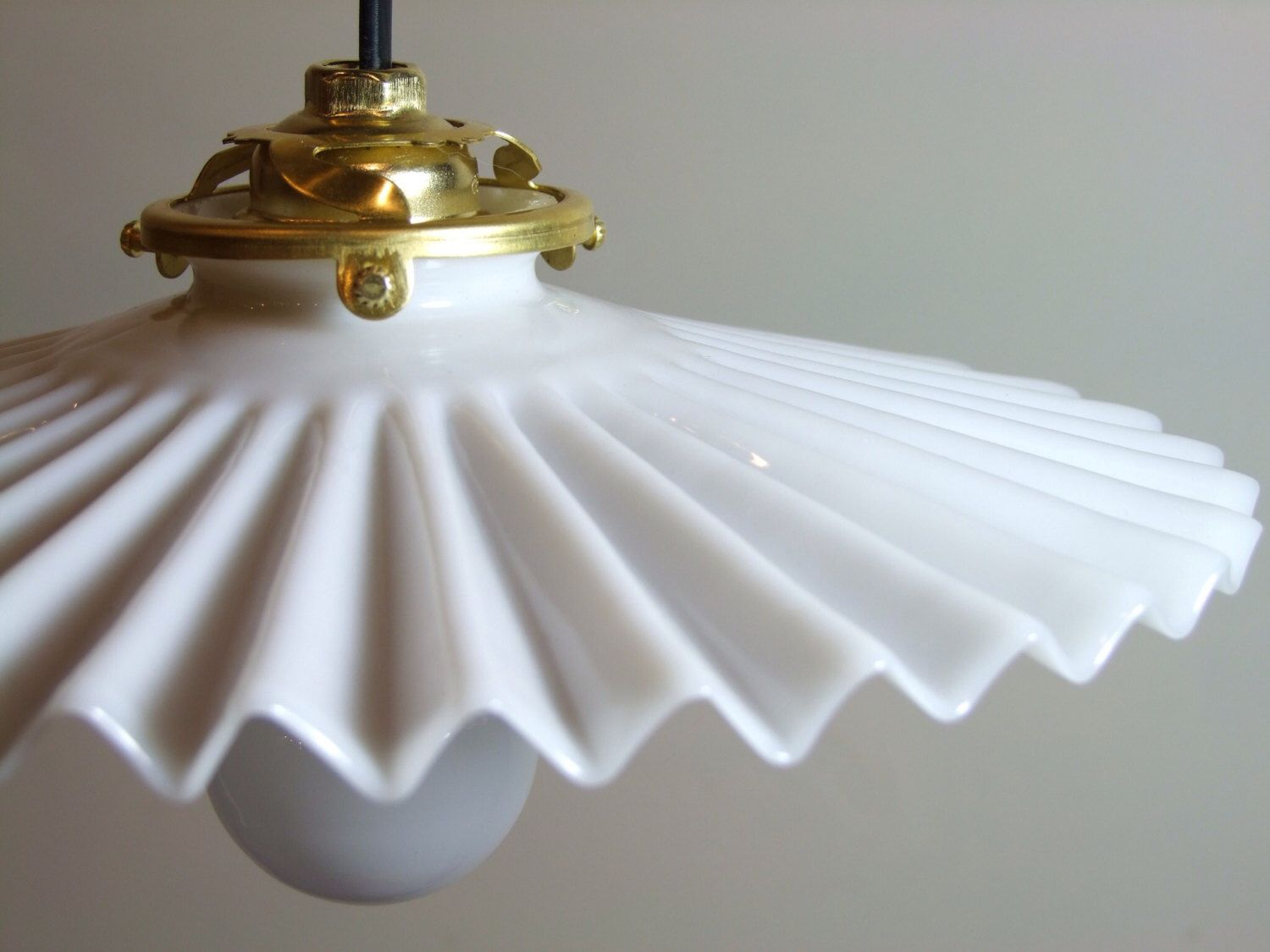 Glorious Vintage French Milkglass Lampshade Crinkle Design Opaque Glass Pendant Light Fitting Milk Glass French Vintage