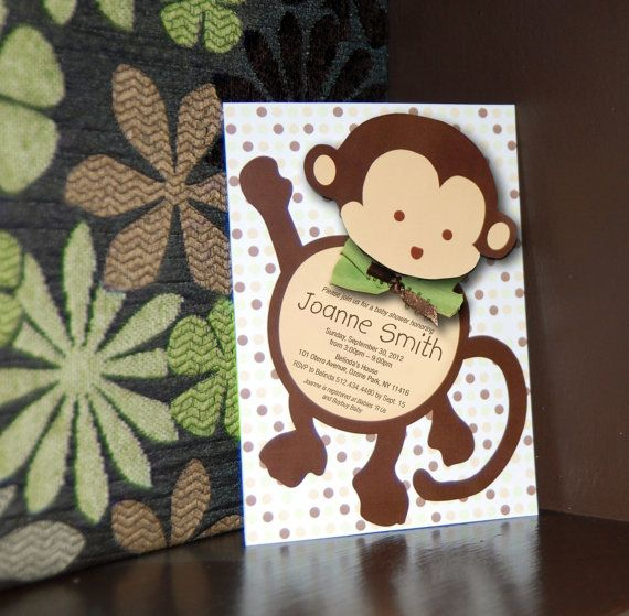 Mod monkey baby shower invitation and bonus thank you card baby mod monkey baby shower invitation and bonus by sassypartydesigns 1500 filmwisefo