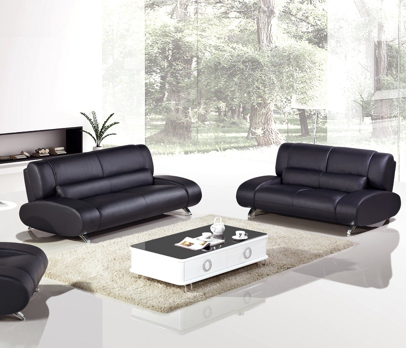 Remarkable American Eagle Ae728 B Modern 2Pcs Black Leather Sofa Set Gmtry Best Dining Table And Chair Ideas Images Gmtryco