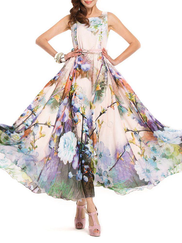 746f52a69 Vestido largo de chifón con estampado de flores - Milanoo.com