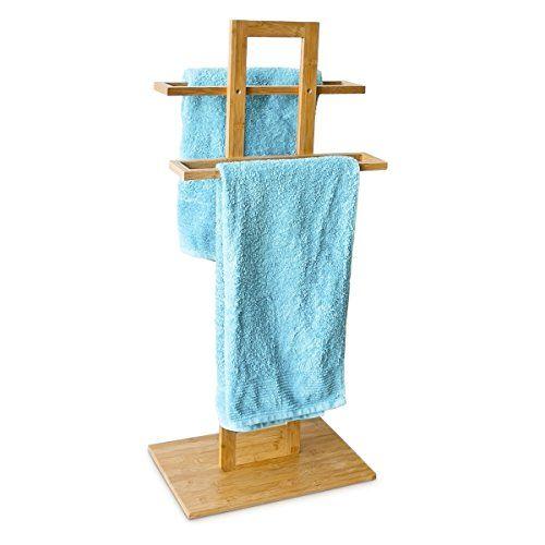 Relaxdays Handtuchständer Bambus mit 2 Handtuchstangen HBT 85 x 37 x - handtuchhalter für küche