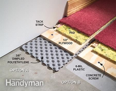 How To Carpet A Basement Floor Well I Would Want Hard Wood Not Carpet But This Gives Me The Steps Nee Concrete Basement Floors Diy Basement Damp Basement