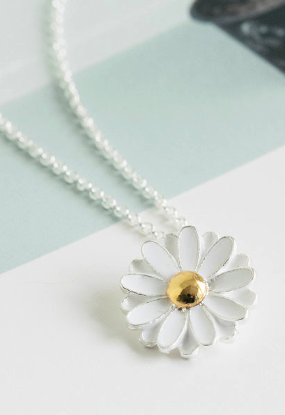 Women/'s Silver Filled Heart Frosted Flower Necklace Pendant Jewellery Gift UK