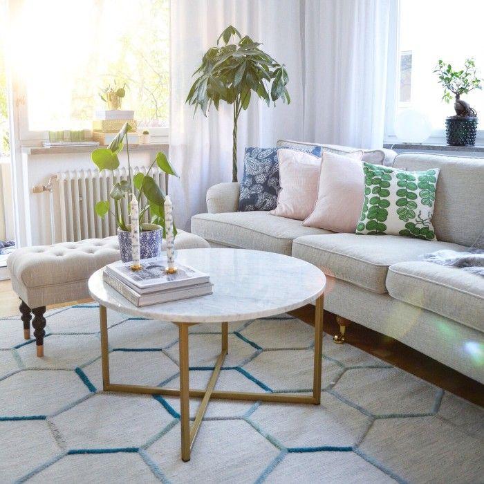 Marmorbord runt soffbord marmor Carrara mässing kryssunderrede 80cm Lägenheten Outdoor