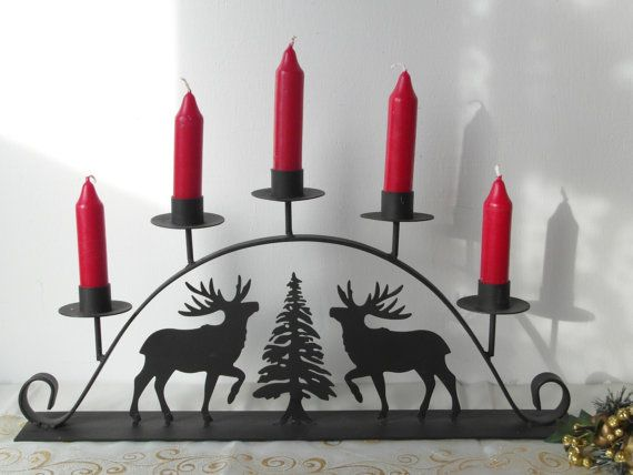 Candlestick wrought iron black deer in fir by TimelessGiftsandMore