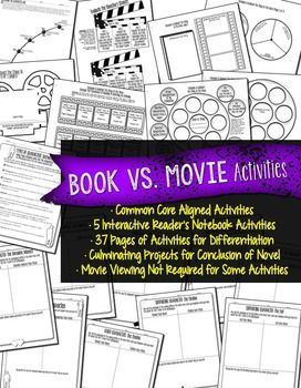 any book amp movie comparison readers notebook activities