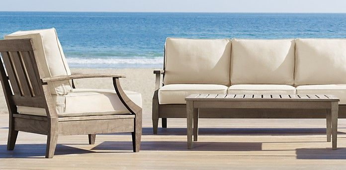 santa monica sofa set pauline thomasville weathered teak | restoration hardware, ...