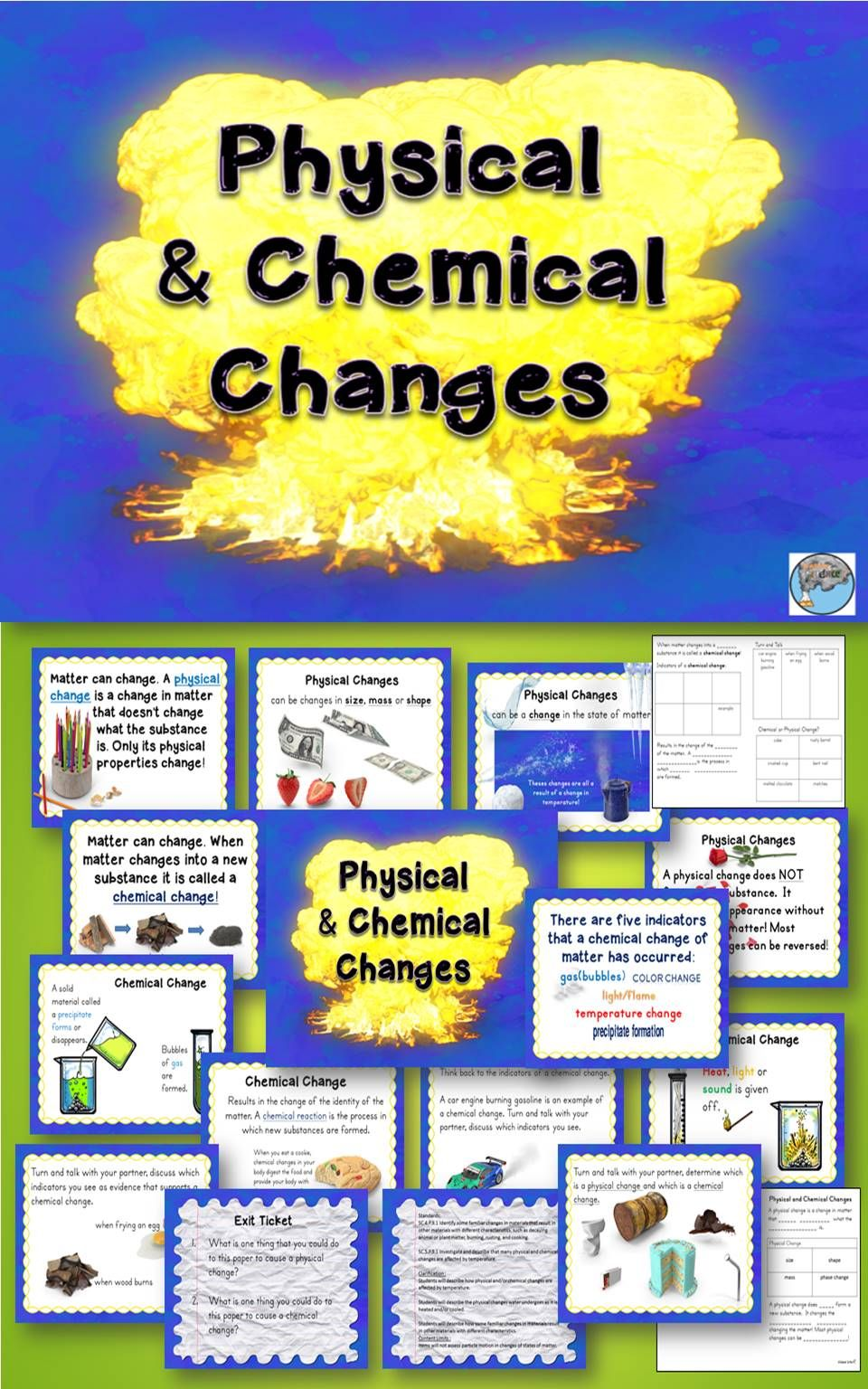 Eq How Does Matter Change This Lesson Addresses Standards For 4th And 5th Grade Sc 5 P 9 1 Investigat Physical Change Chemical And Physical Changes Physics