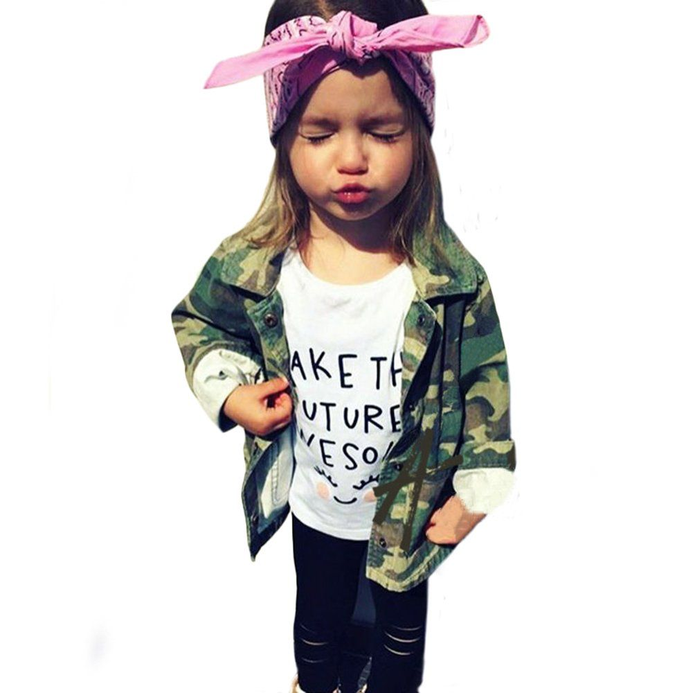 0965e6a6d Sibylla Infant Baby Girls Boys Camouflage Letters Print Trench Coat ...